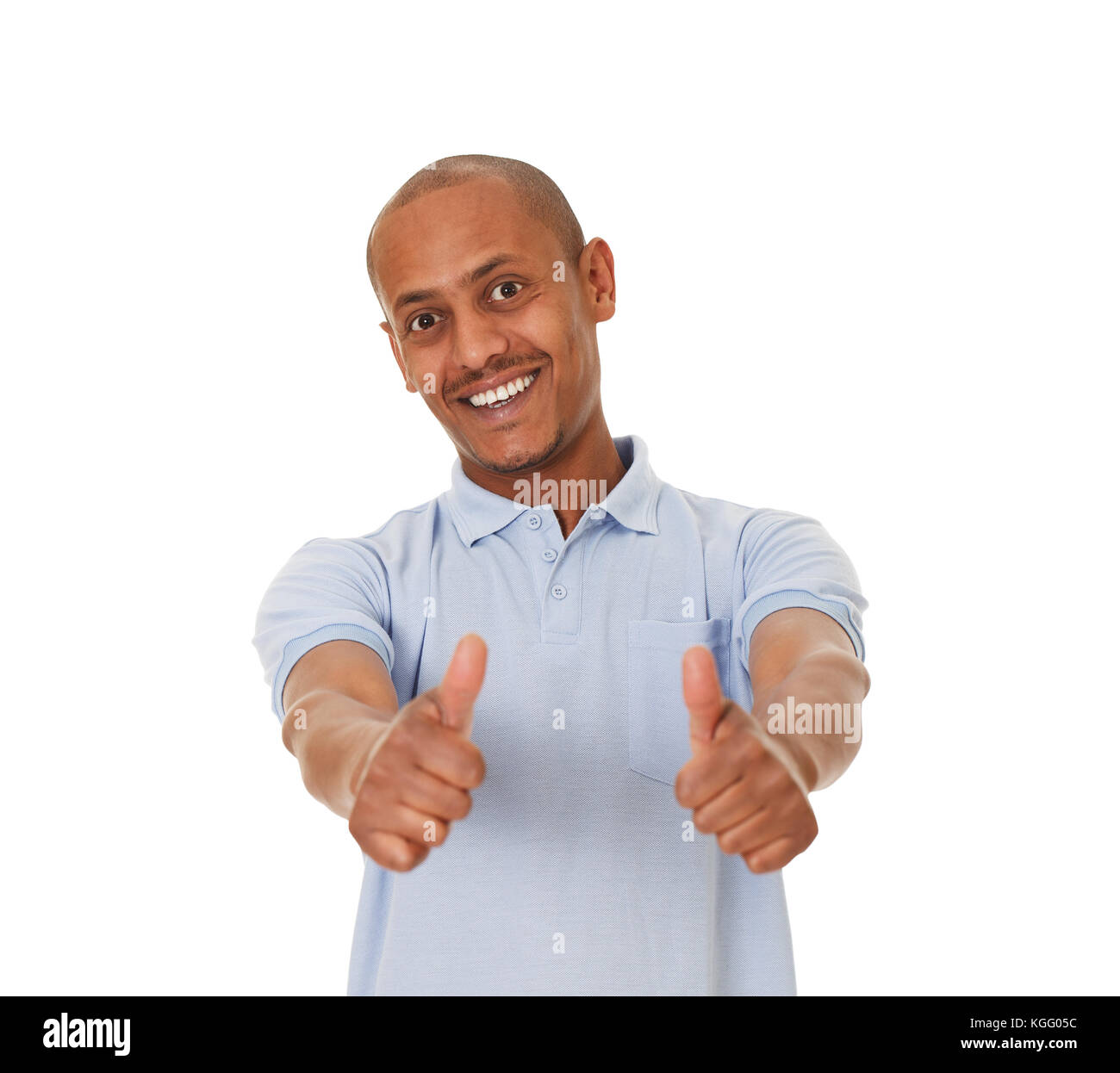 African-American young man showing thumbs up. - Stock Image