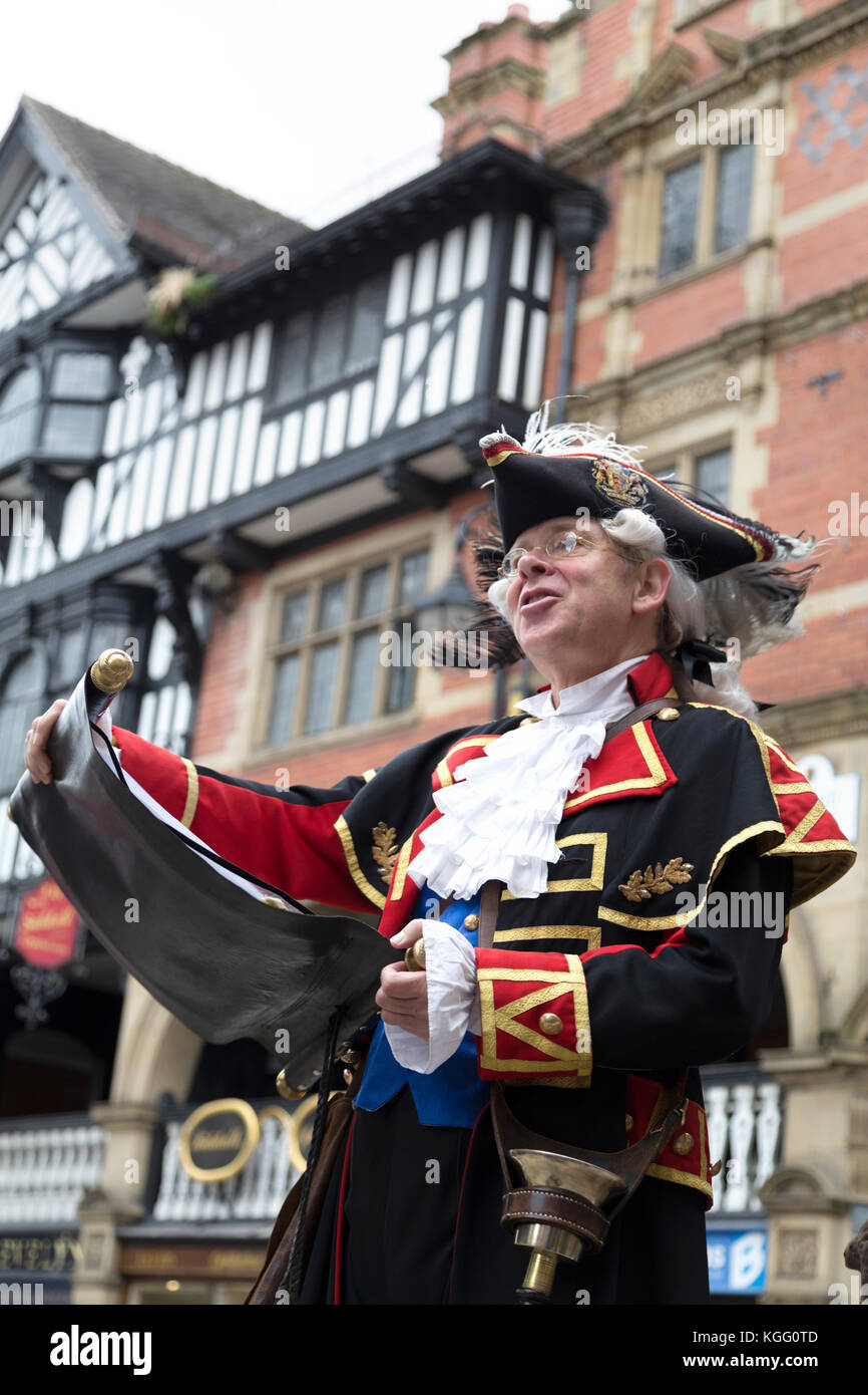 UK, Chester, the local town crier. - Stock Image