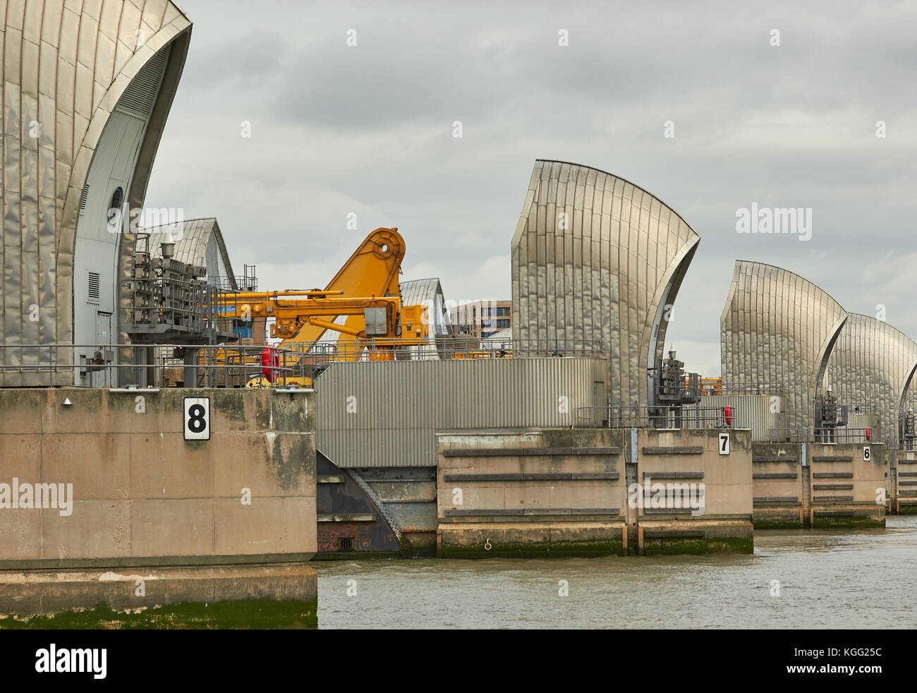 Thames Barrier, Greenwich, London, United Kingdom - Stock Image