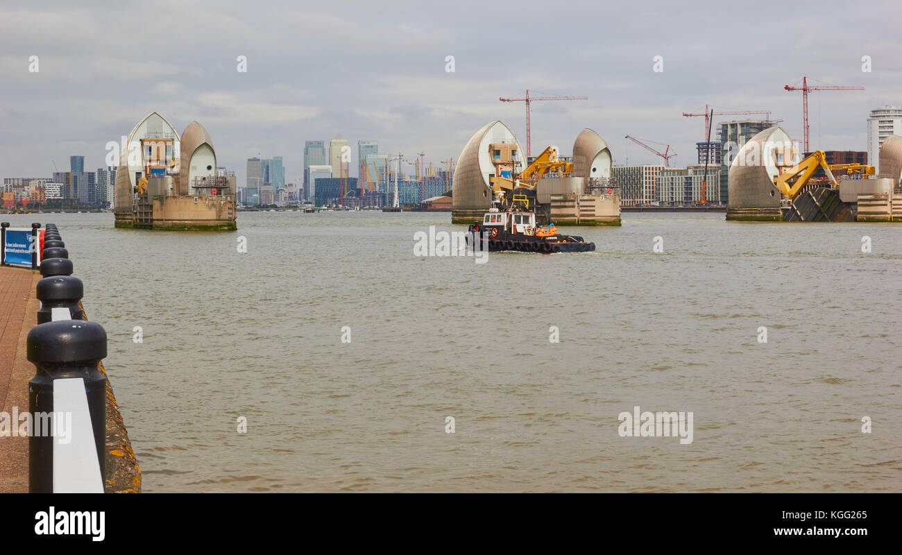 Thames Barrier, Greenwich, London - Stock Image