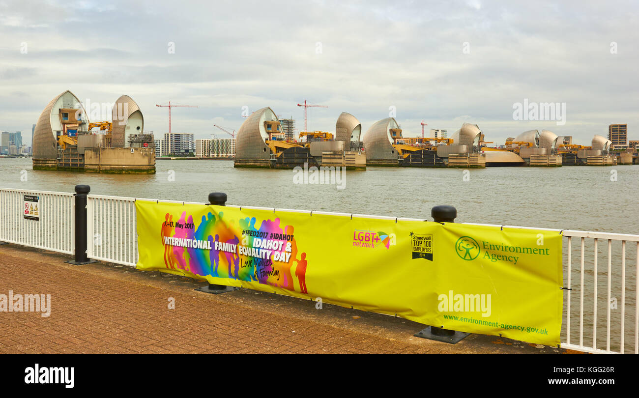 Thames Barrier and Environment Agency  banner, Greenwich, London - Stock Image