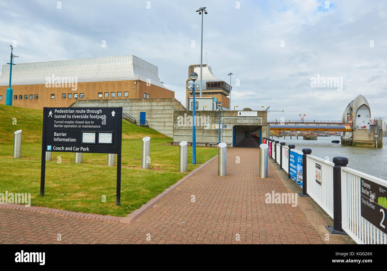 Thames Barrier control centre and tunnel to Thames path, Greenwich, London, United Kingdom - Stock Image