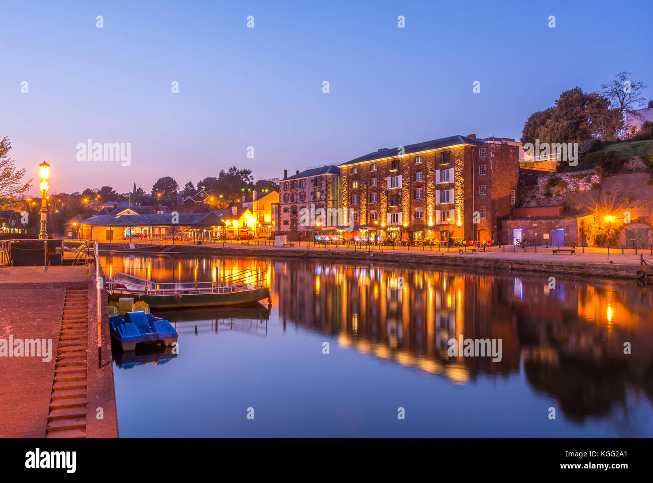 Exeter Quay at Night. - Stock Image