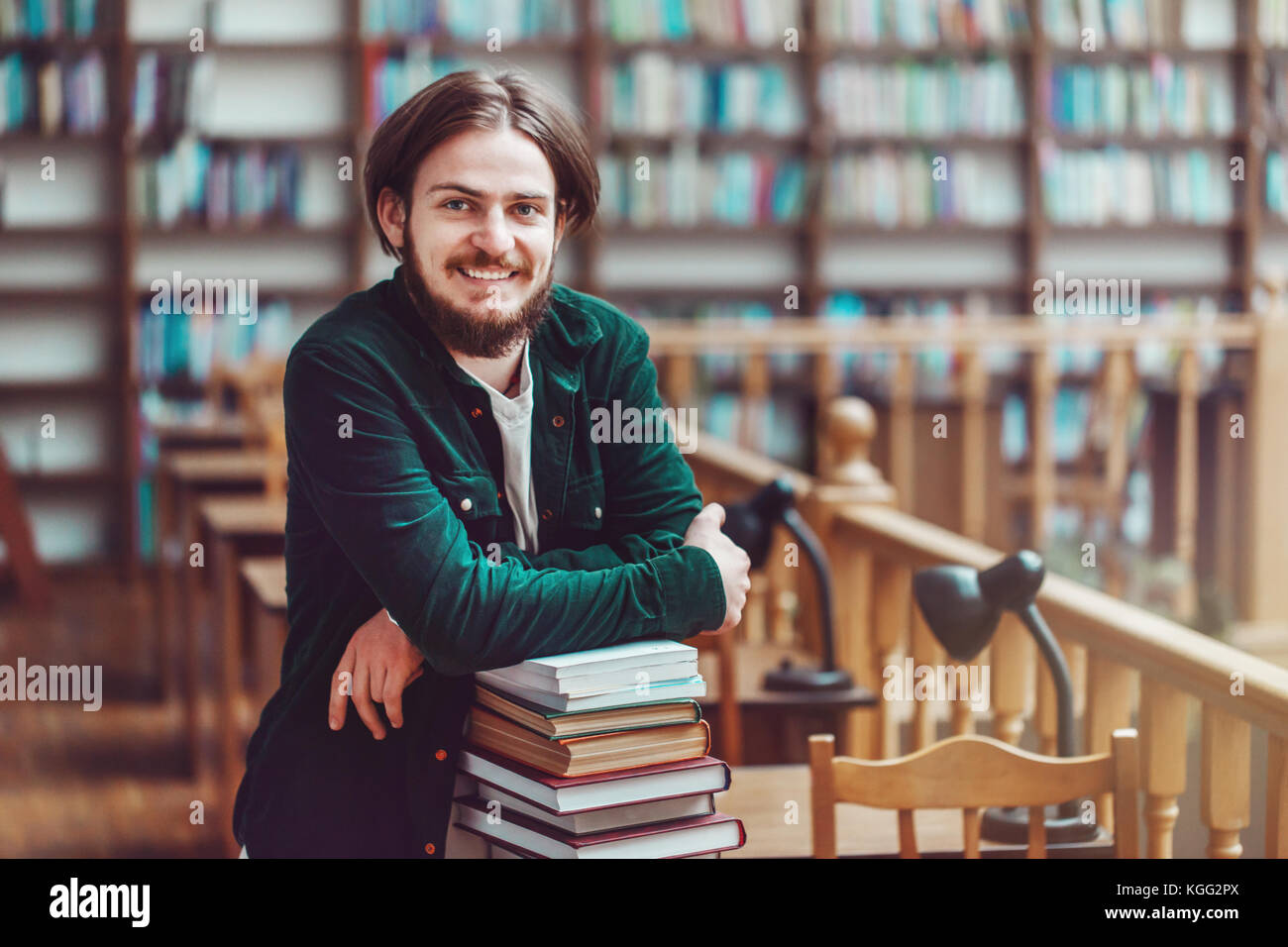 Studying Process in Library - Stock Image