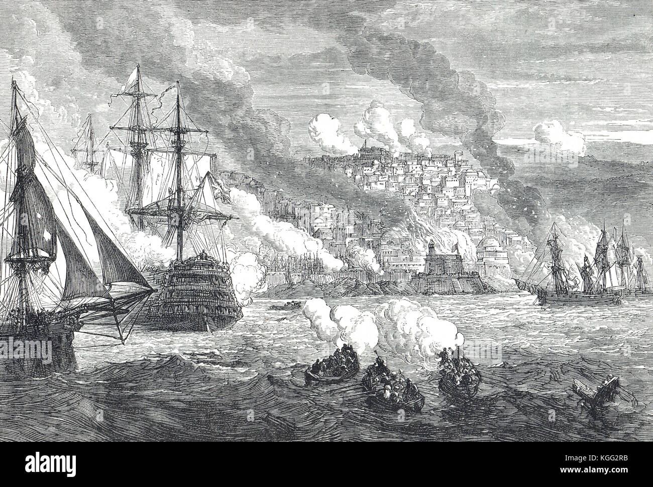 Bombardment of Algiers, 27 August 1816 Stock Photo