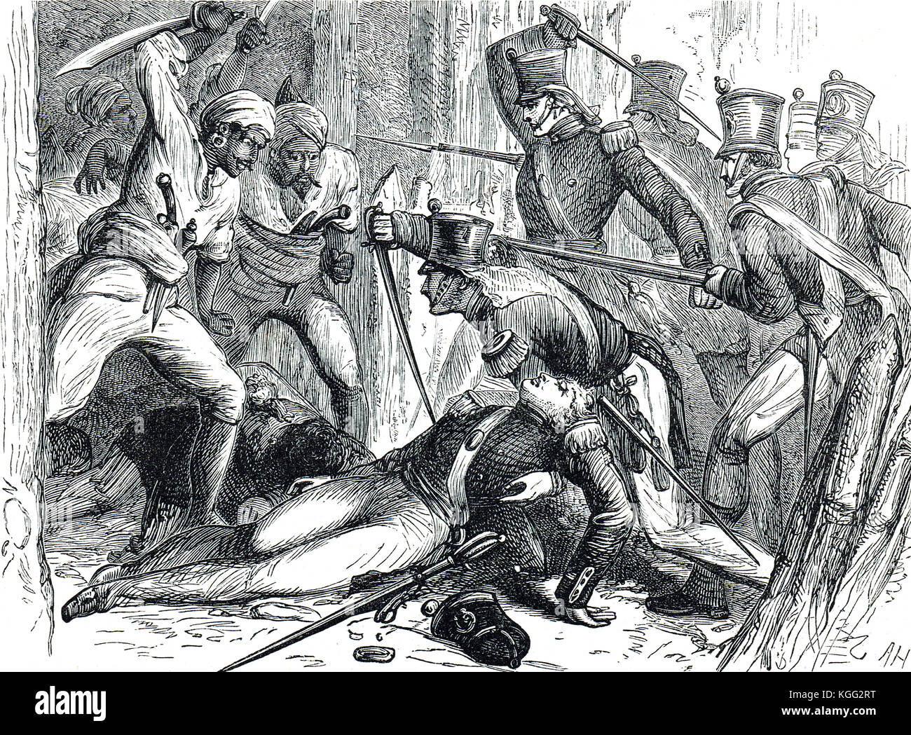 Rescue of Lieutenant-Colonel Macgregor Murray, Battle of Thalner 1818 - Stock Image
