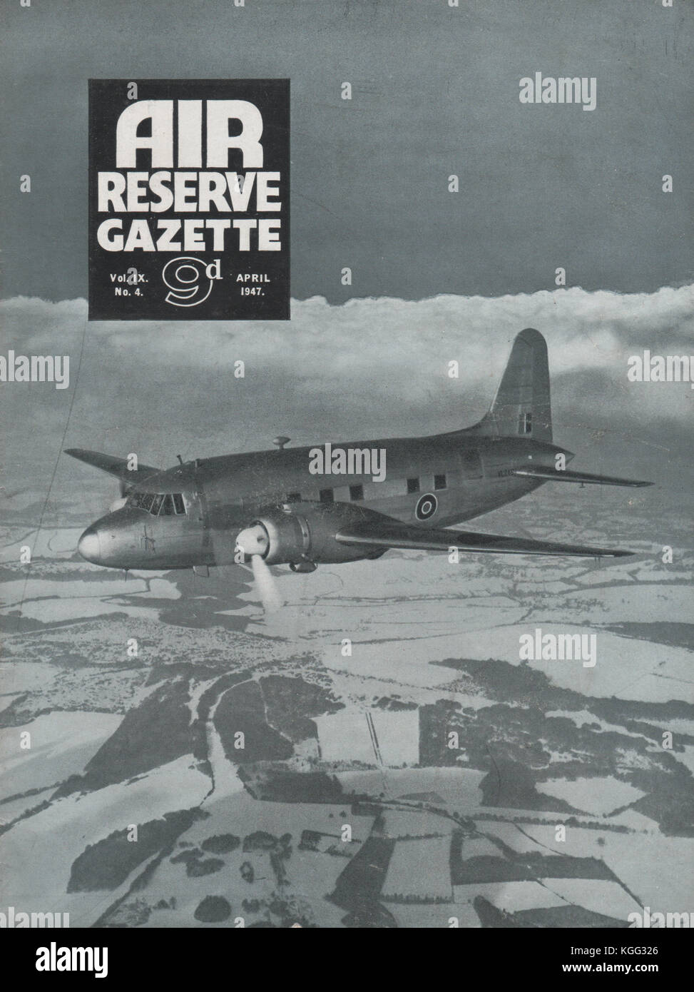 Vintage Air Reserve Gazette magazine cover dated April 1947 showing a Vickers Viking transport aircraft of the Royal - Stock Image