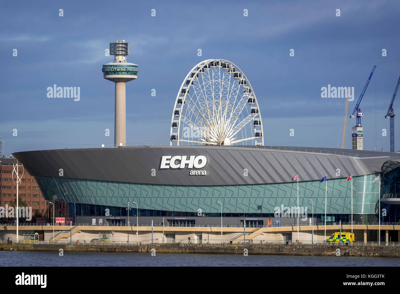 Liverpool pierhead waterfront. The Echo Arena. - Stock Image