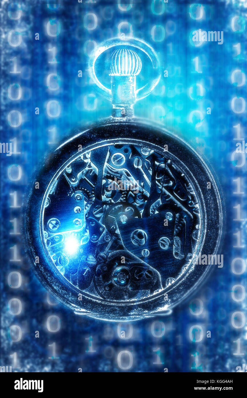 pocket watch and digital background, steampunk object - Stock Image