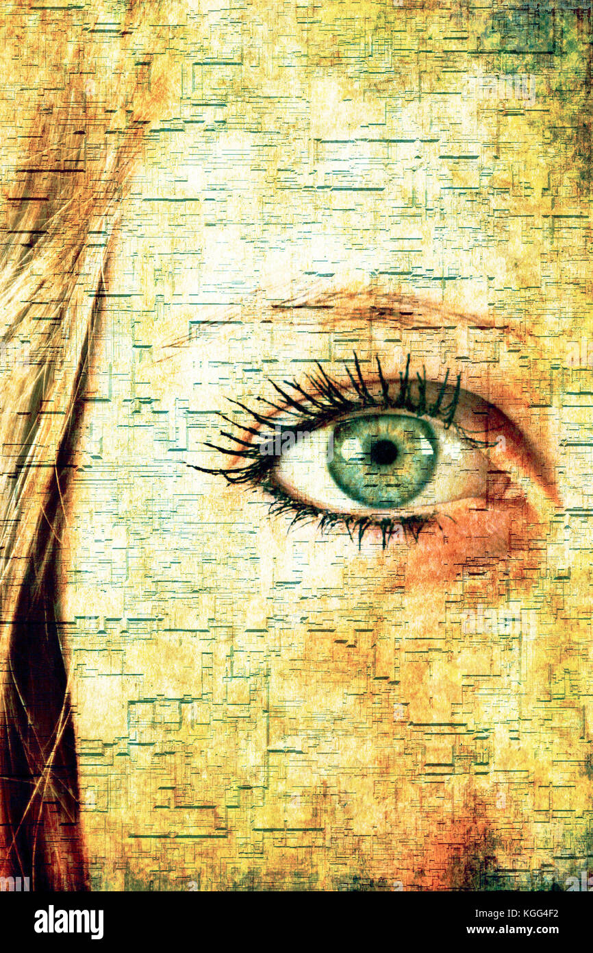 partial face and green eye of a blond woman with futuristic effect - Stock Image