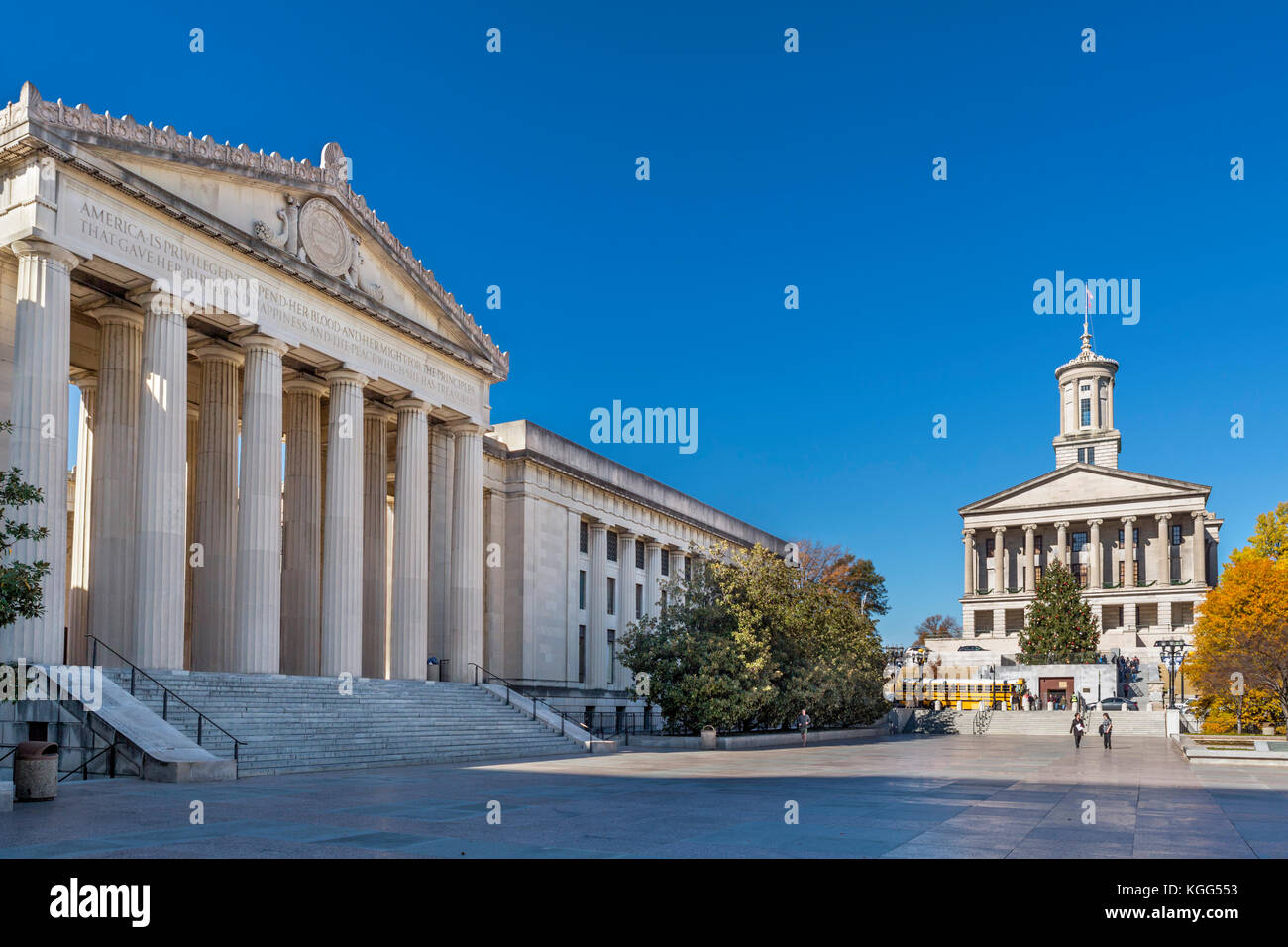 Legislative Plaza with the Tennessee General Assembly building on the left and the State Capitol to the right, Nashville,Tennessee, - Stock Image