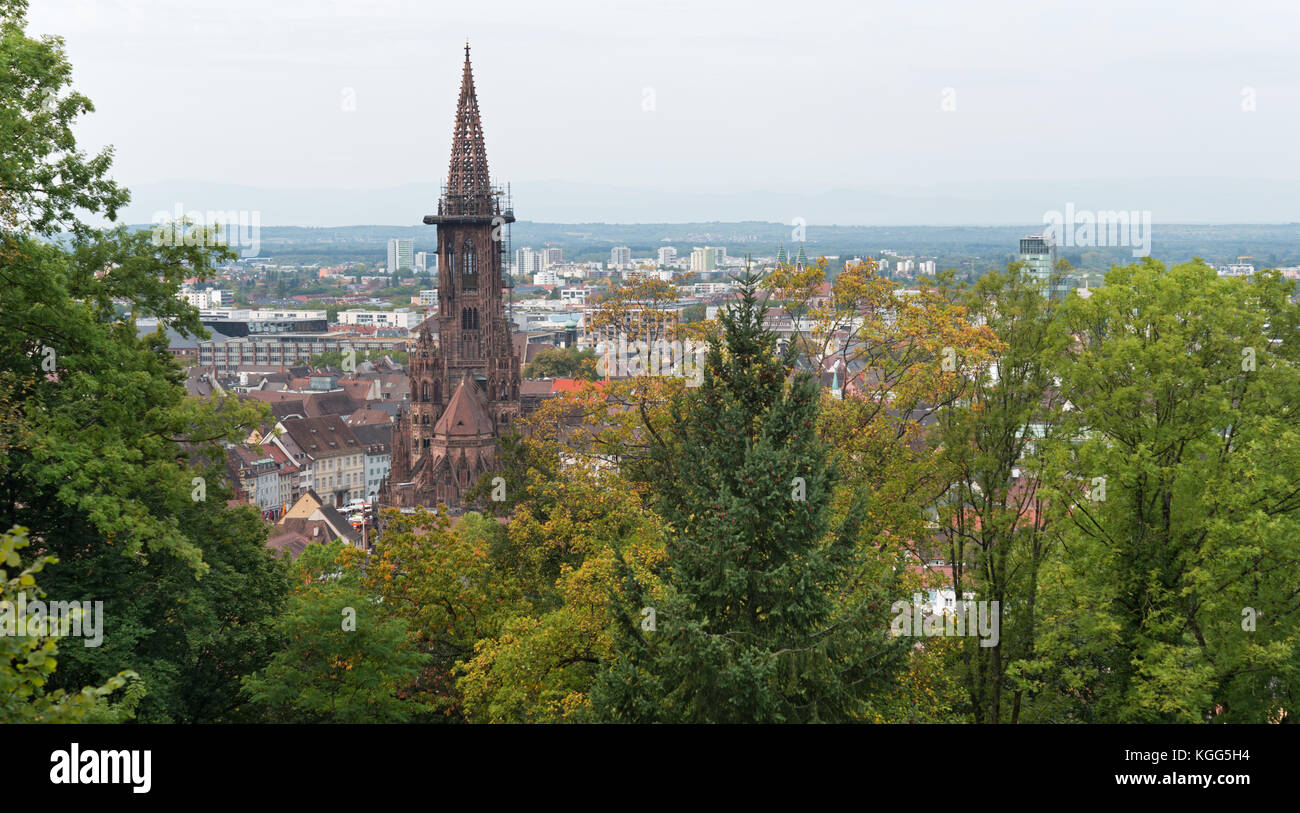 View to Freiburg im Breisgau from the slope of Schlossberg - Stock Image