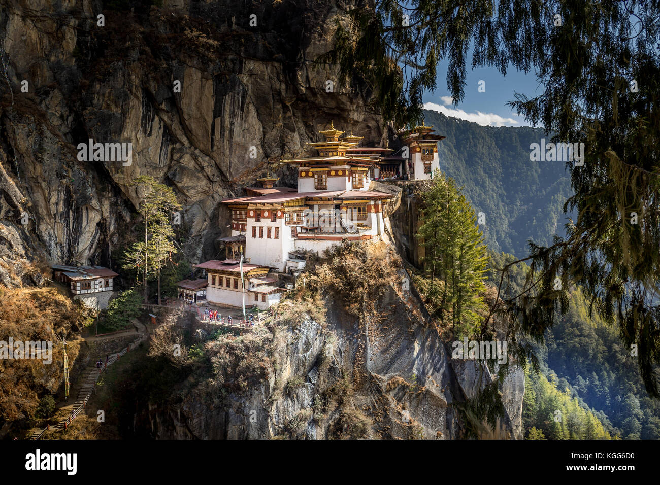 Famous Tiger's Nest monastery near Paro, Bhutan - Stock Image