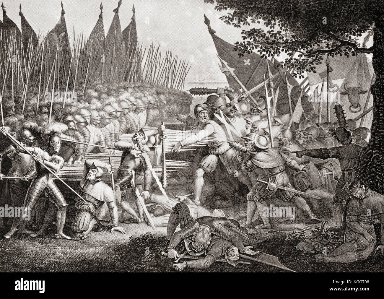 The heroic death of Arnold Winkelried.  Arnold von Winkelried or Arnold Winkelried, a legendary hero of Swiss history Stock Photo