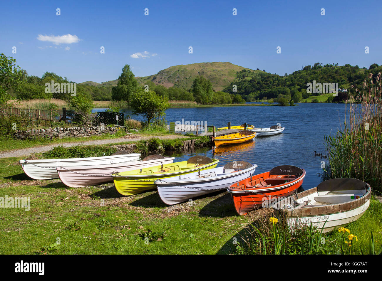 Boats by Grasmere Lake District national park Cumbria - Stock Image