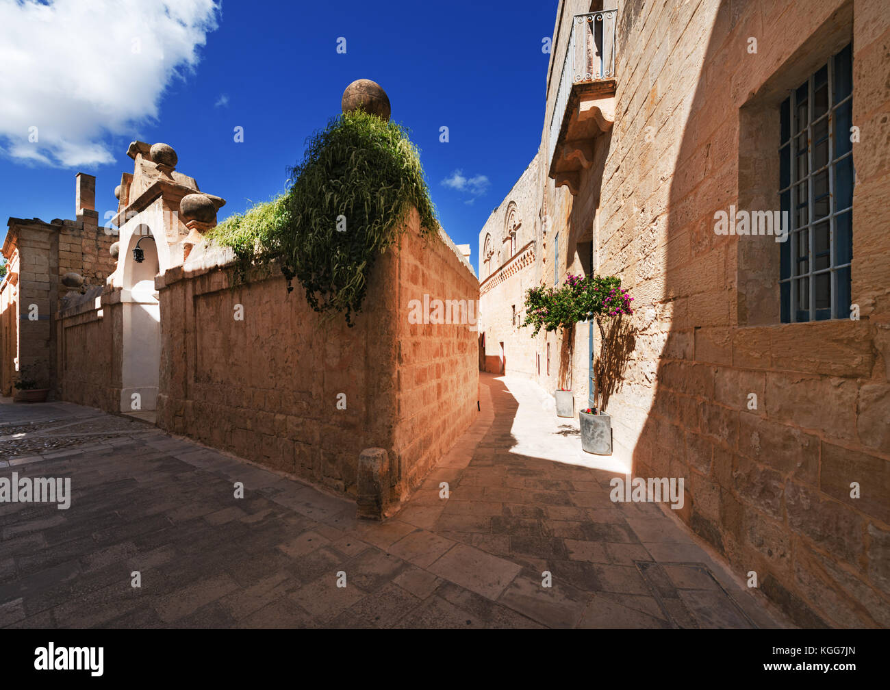 Streets of old town Mdina (Malta) - Stock Image