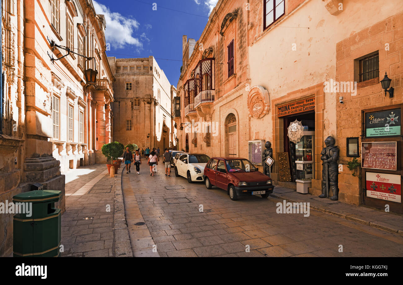 Vallegaigon street in Mdina city (Malta) - Stock Image
