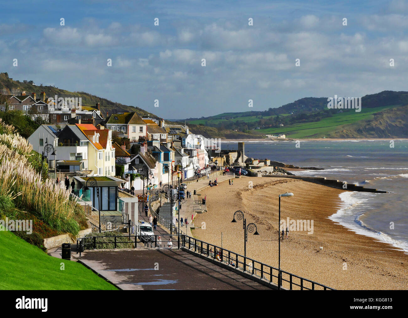 View of Lyme Regis in Dorset looking towards Charmouth. - Stock Image