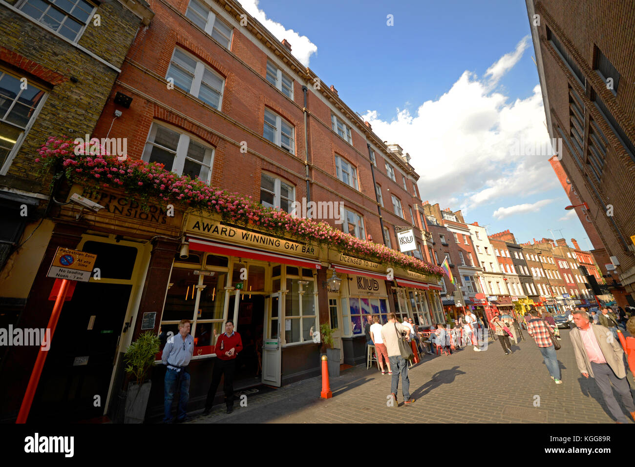 Ku Klub Bar is one of the largest gay bars in London. Leicester Square pub club. - Stock Image