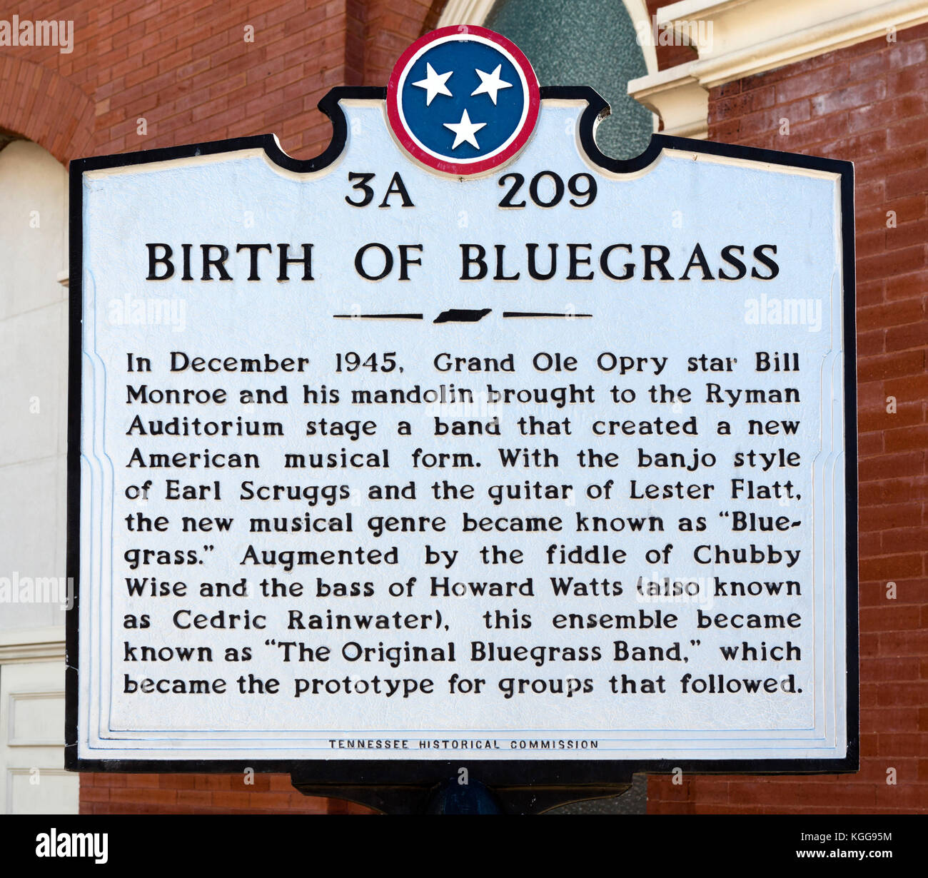Birth of Bluegrass sign outside the Ryman Auditorium, formerly the Grand Ole Opry House from 1943-1974, Nashville,Tennessee, - Stock Image