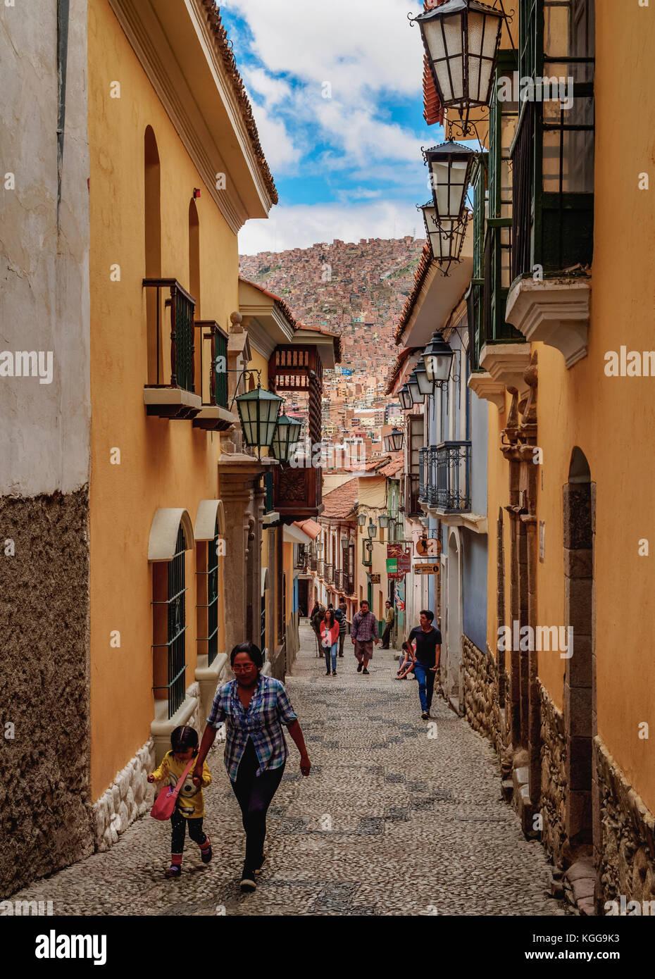 Calle Jaen, Old Town, La Paz, Bolivia - Stock Image