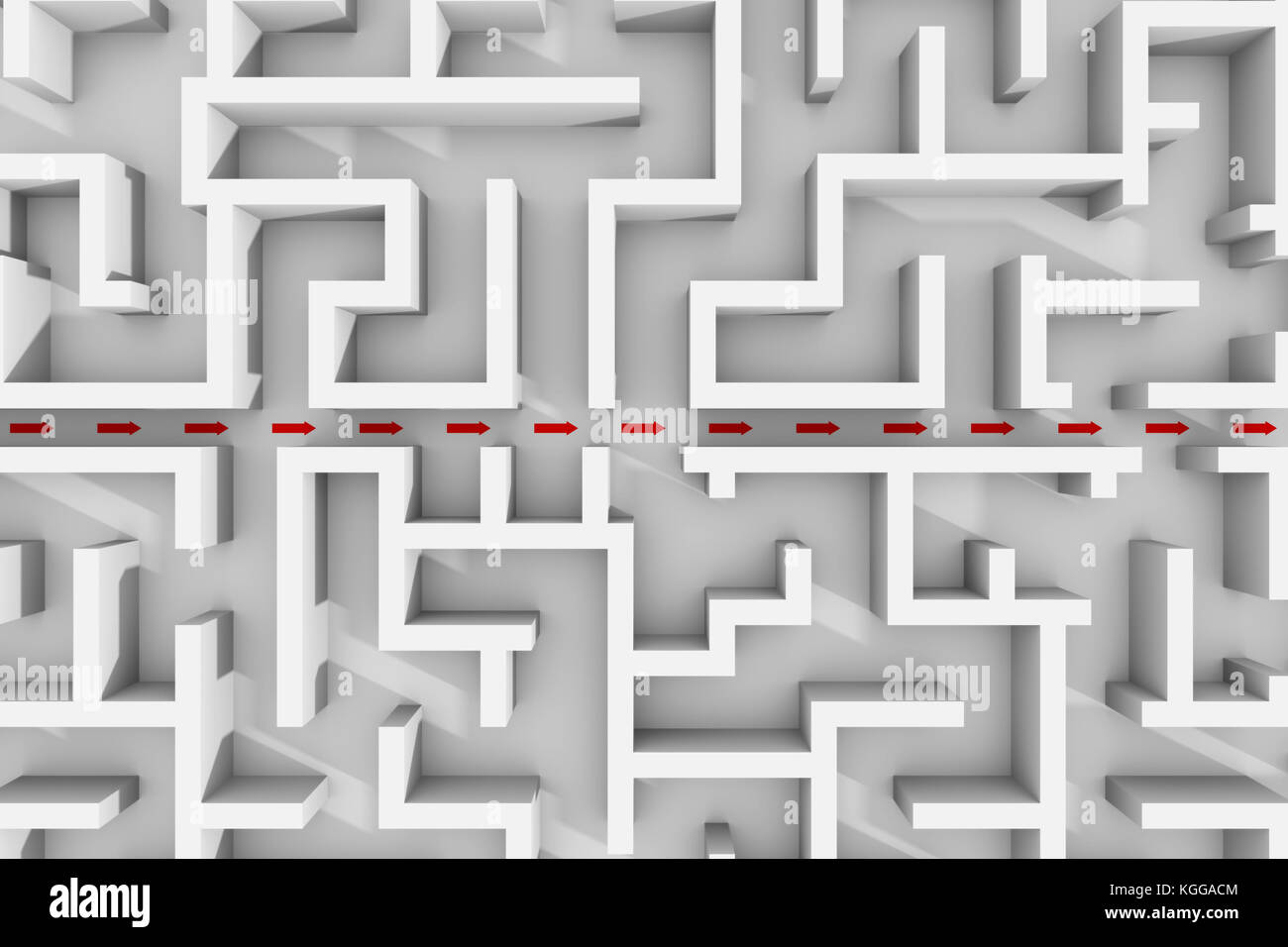 white maze structure, red arrows showing shortcut through the labyrinth garden (3d illustration) Stock Photo