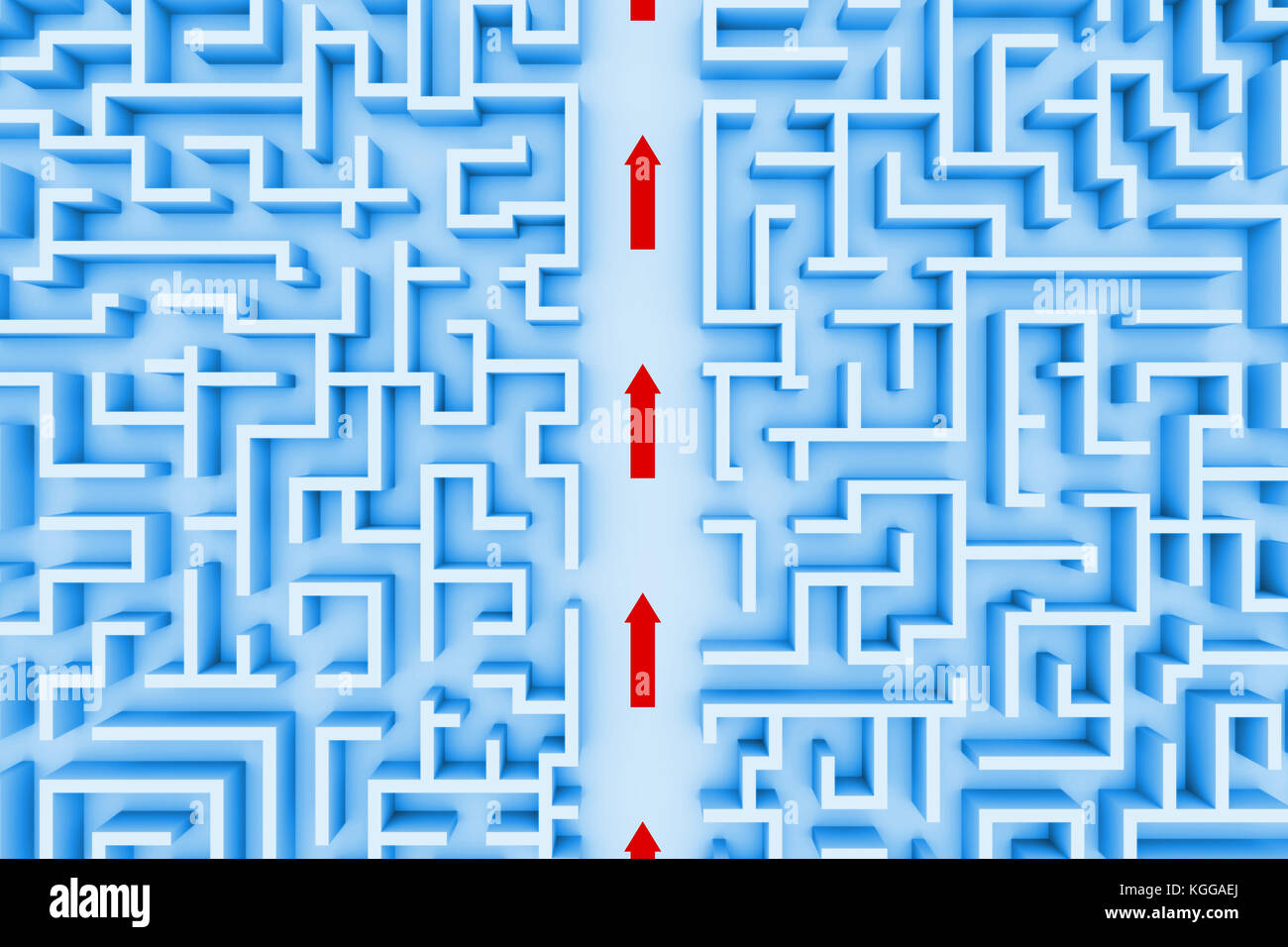 huge maze structure, red arrows showing shortcut through the labyrinth (blue 3d illustration) - Stock Image