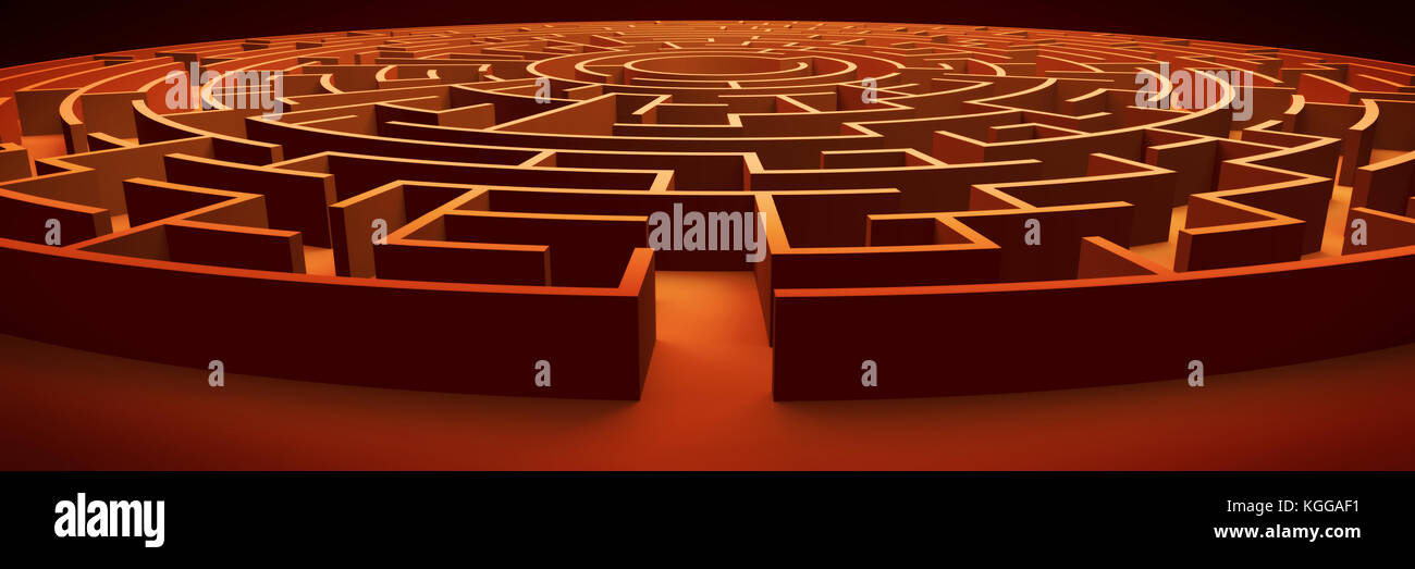 huge and mysterious circular maze structure (vintage 3d illustration) - Stock Image