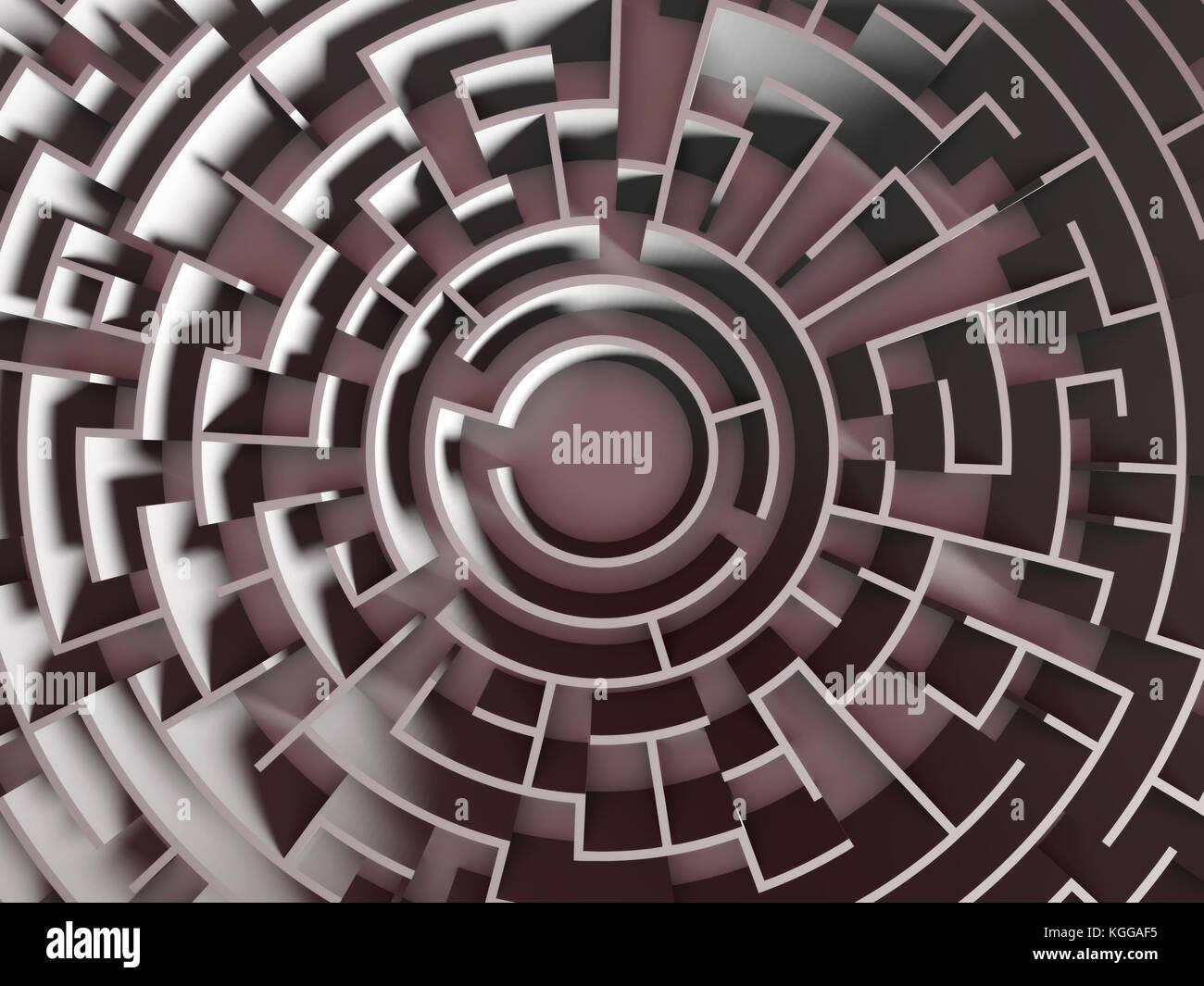 huge circular maze structure (3d illustration) - Stock Image