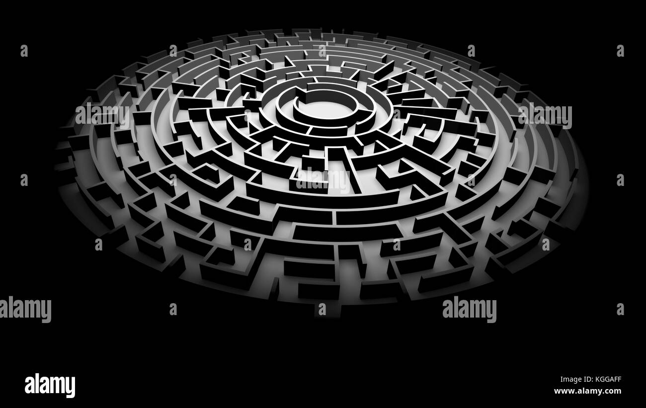 circular maze structure ablaze with light surrounded by darkness (3d illustration) - Stock Image