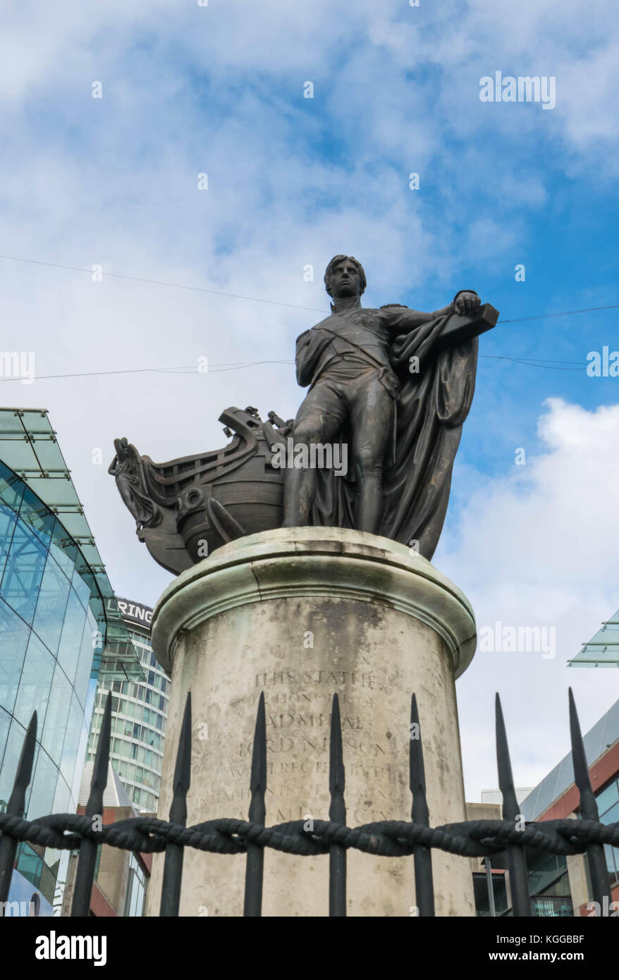 Birminghamm, UK - October 3rd, 2017 : Statue of Lord Horatio Nelson in the Bull Ring shopping centre - Stock Image