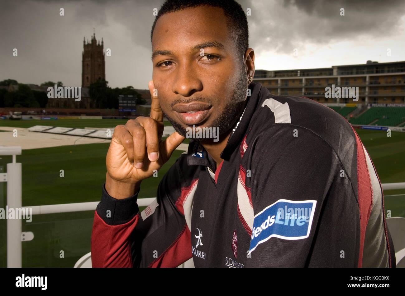 Cricketer Keiron Pollard at Somerset CCC, Taunton.   8/7/11 - Stock Image