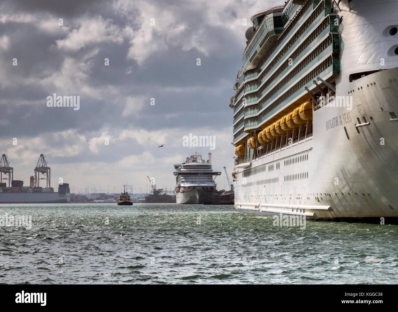 In dock, two Royal Caribbean passenger cruise ships, Southampton Water Stock Photo