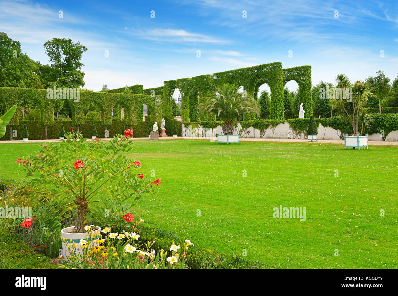 Beautiful glade in the city park of Schwetzingen, Germany. - Stock Image