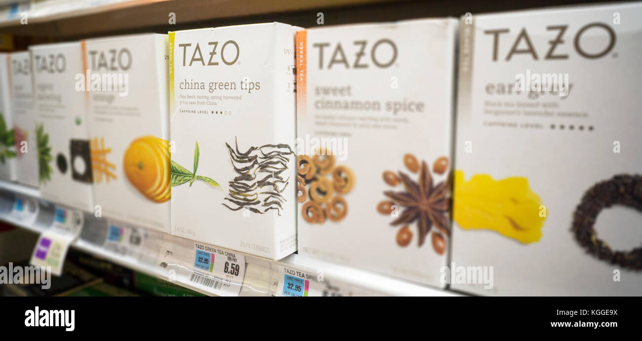 Boxes of Tazo Green Tea are seen on a grocery shelf in New York on Friday, November 3, 2017. Starbucks announced - Stock Image