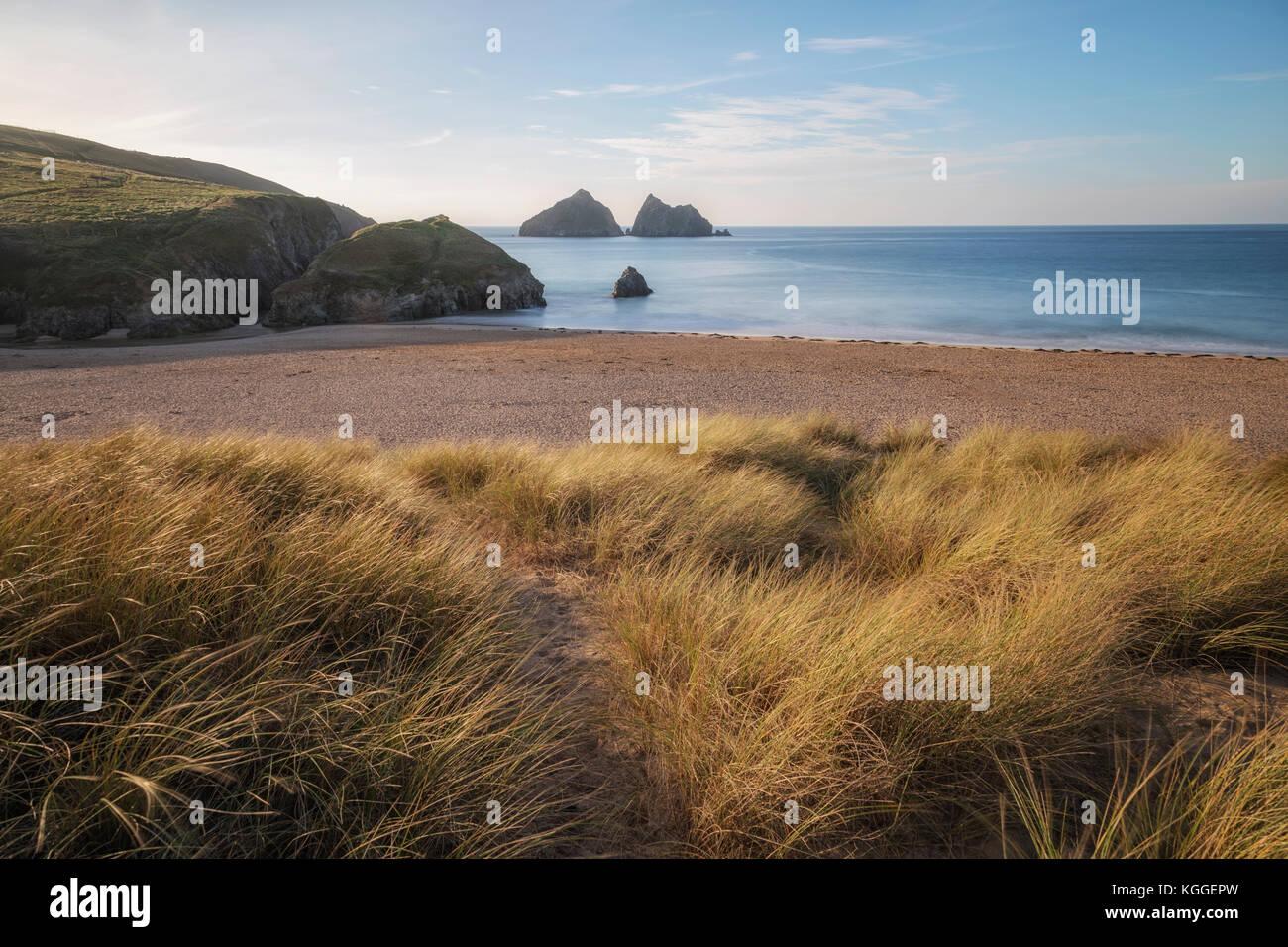 Holywell Bay, Gull Rocks, Cornwall, England, United Kingdom - Stock Image