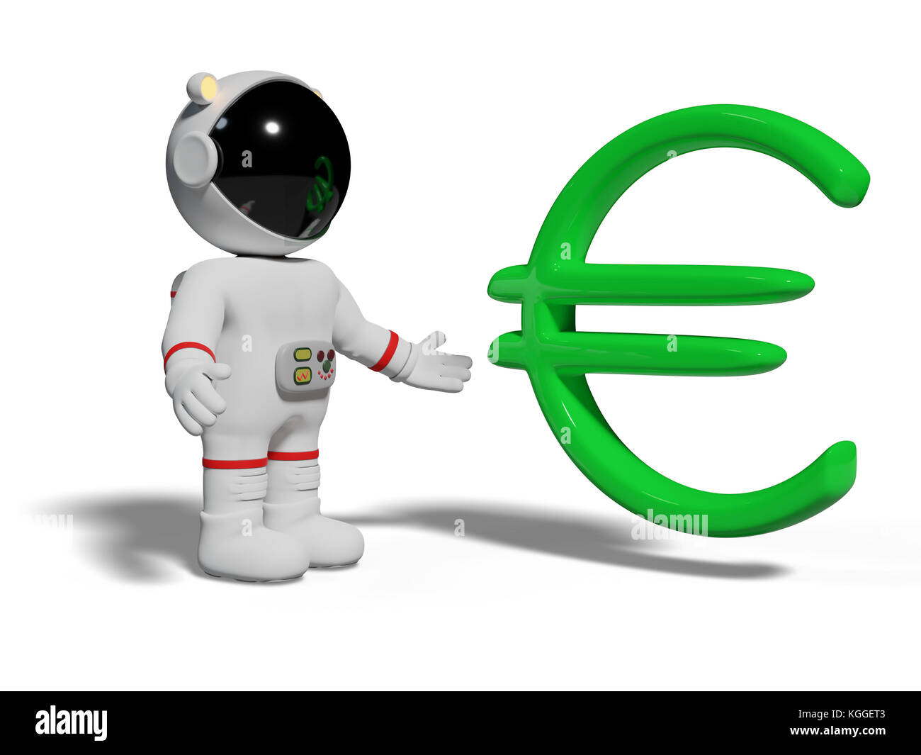 Astronaut Looking At Green Euro Sign Cute Cartoon Character With