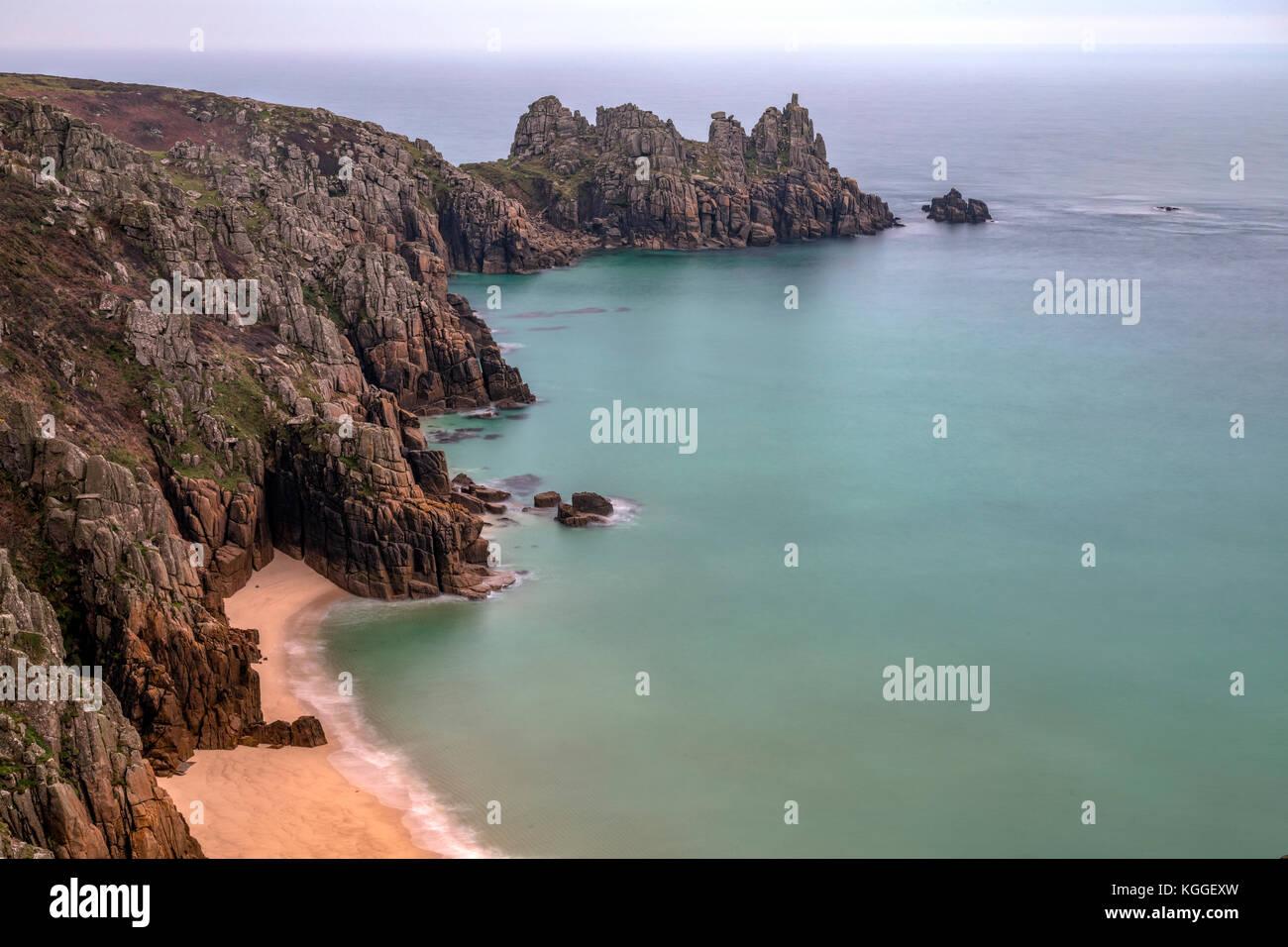 Logan Rock, Penwith Peninsula, Cornwall, England, United Kingdom - Stock Image