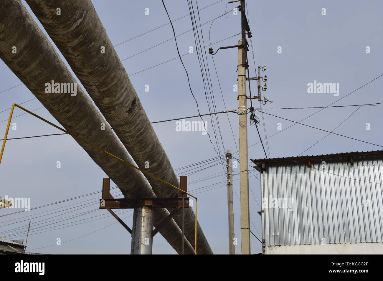Gas pipelines, electrical wiring and other public utilities spread over all the ex Soviet countries, Kazkahstan. - Stock Image