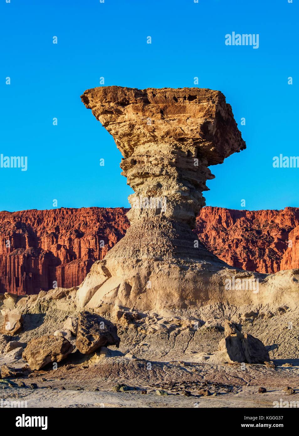 The Mushroom Rock Formation, Ischigualasto Provincial Park, UNESCO World Heritage Site, San Juan Province, Argentina - Stock Image