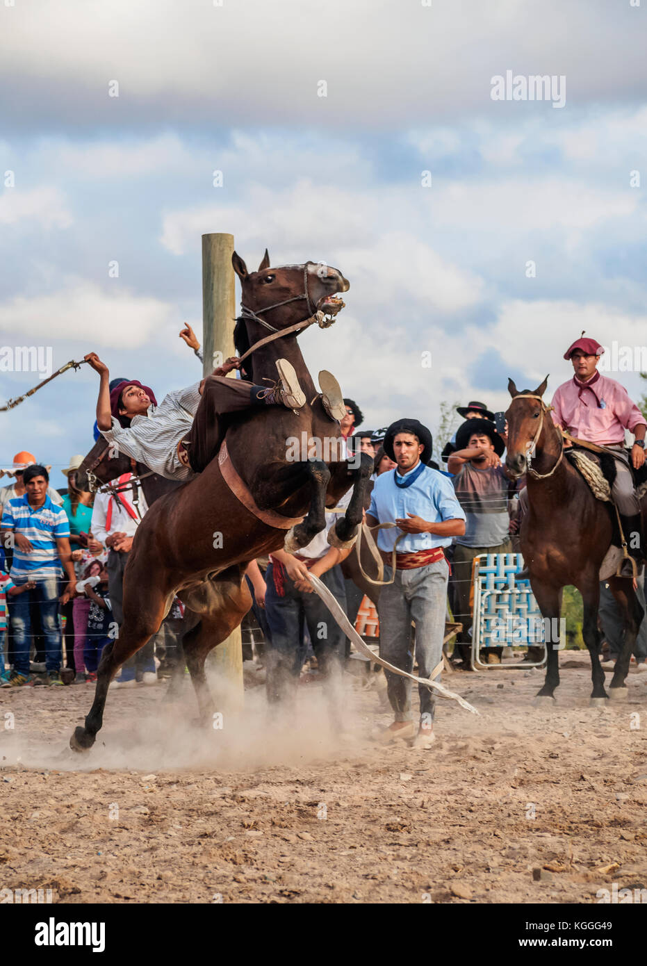 Jineteada Gaucha, traditional sport, Vallecito, San Juan Province, Argentina - Stock Image