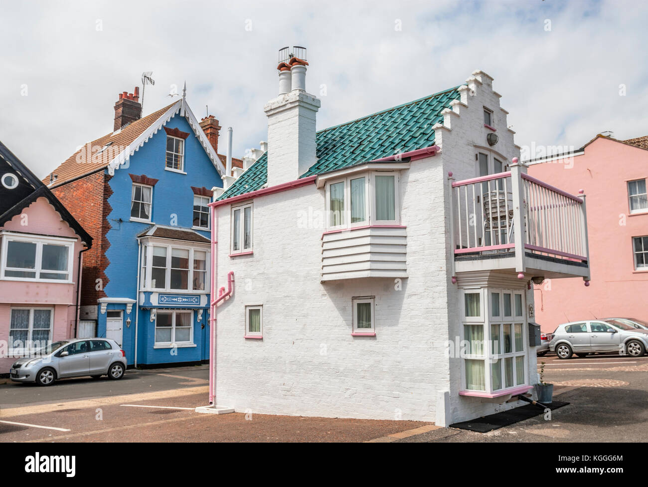Small historical house in Aldeburgh, a coastal town in Suffolk, East Anglia, England. - Stock Image