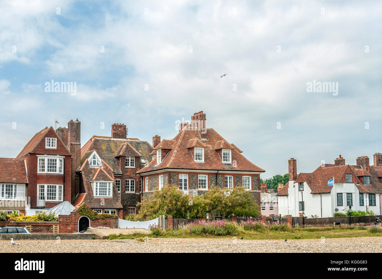Waterfront of Aldeburgh, a coastal town in Suffolk, East Anglia, England. Located on the Alde river the town is - Stock Image