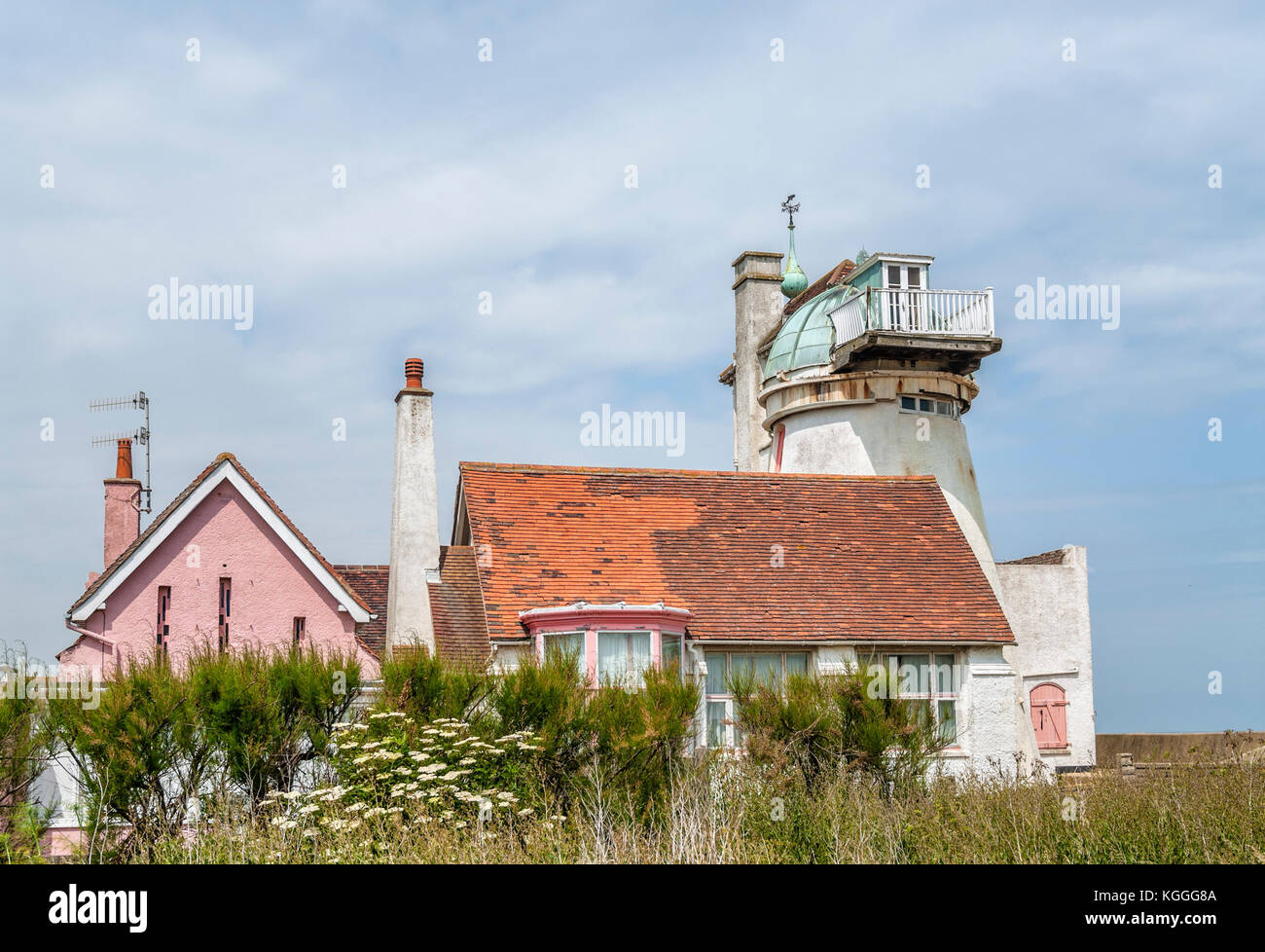 Converted Windmill in Aldeburgh a coastal town in Suffolk, East Anglia, England. Located on the Alde river the town - Stock Image