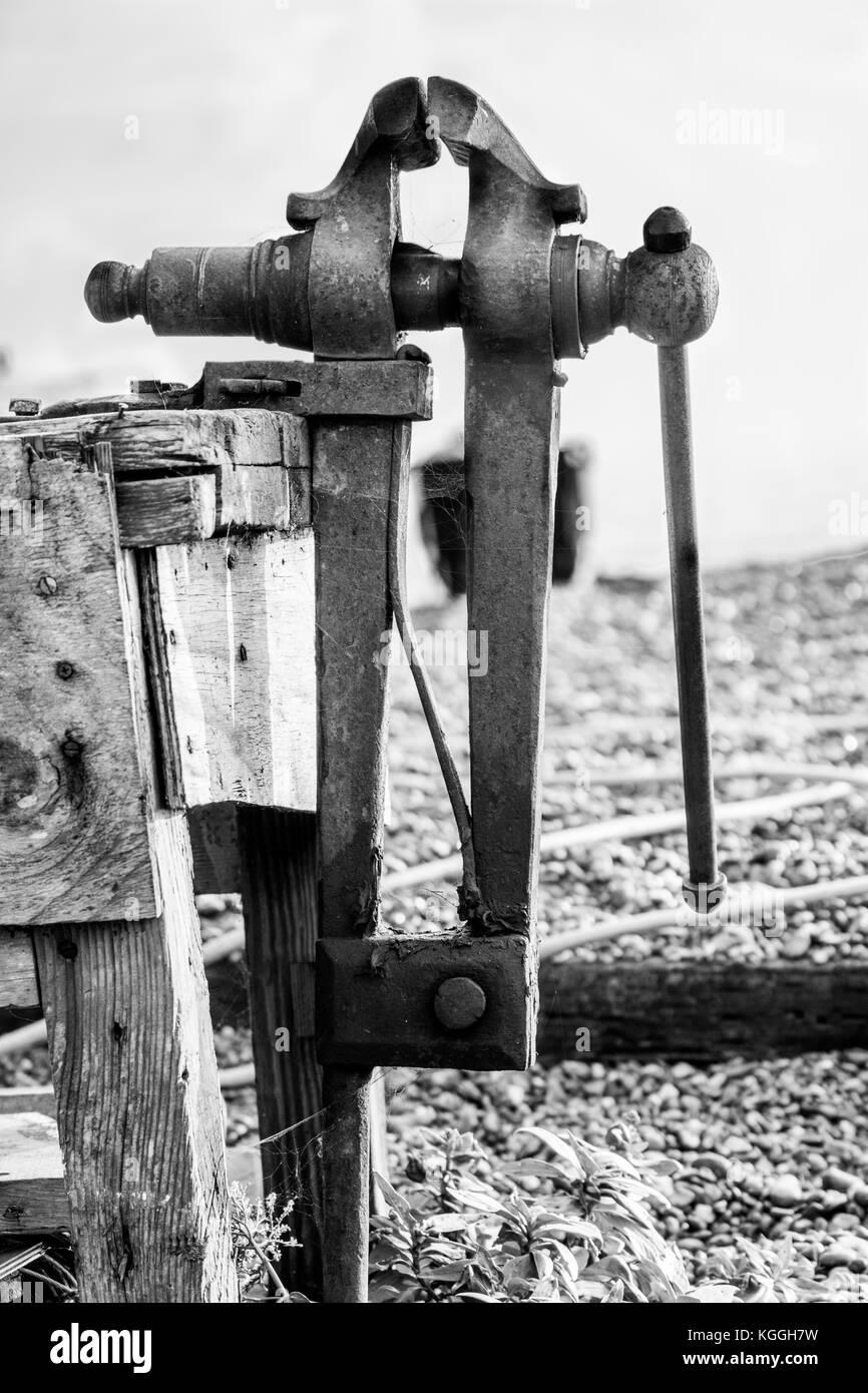 Vintage industrial steel vice tool. - Stock Image