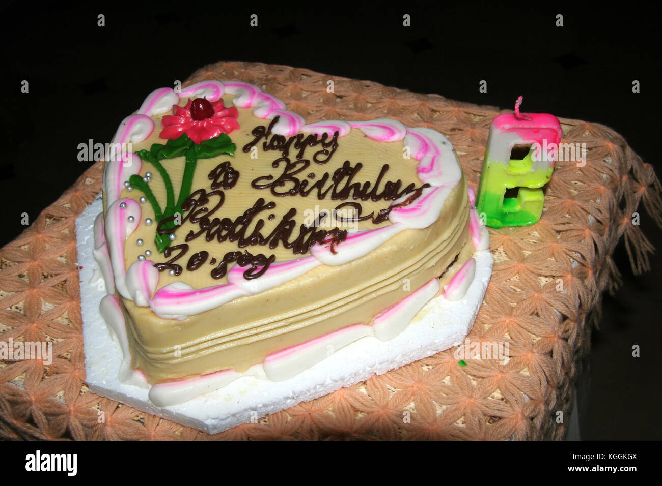 Decorated Spongy Creamy Birthday Cake With Candle