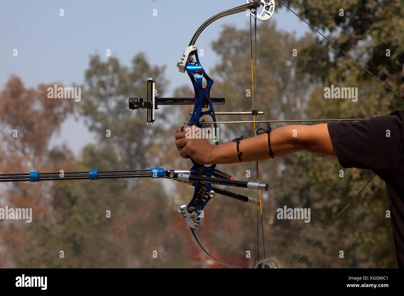 Archers at an archery contest in the university campus Stock Photo