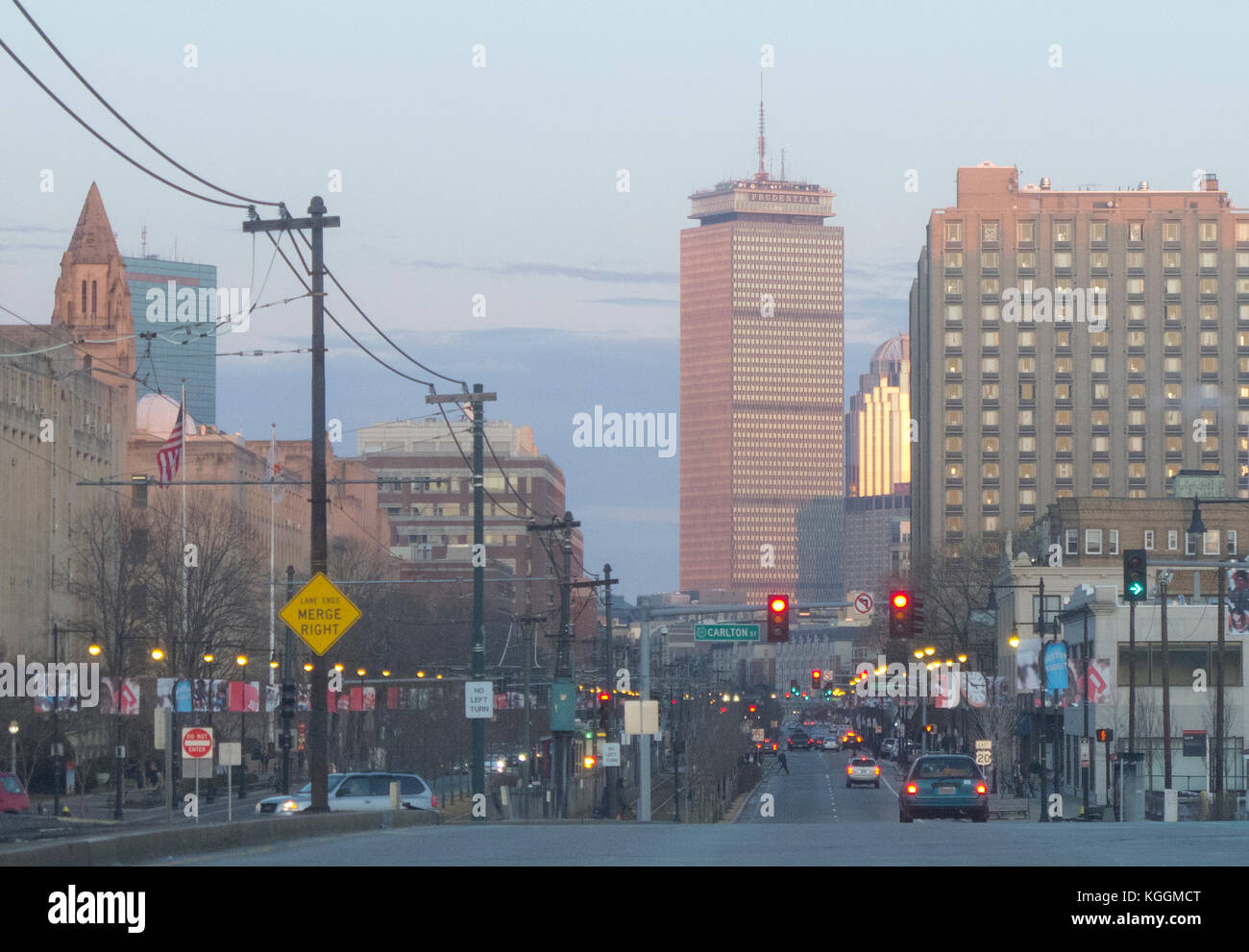 Zoom shot of Boston at magic hour from Commonwealth Avenue - Stock Image