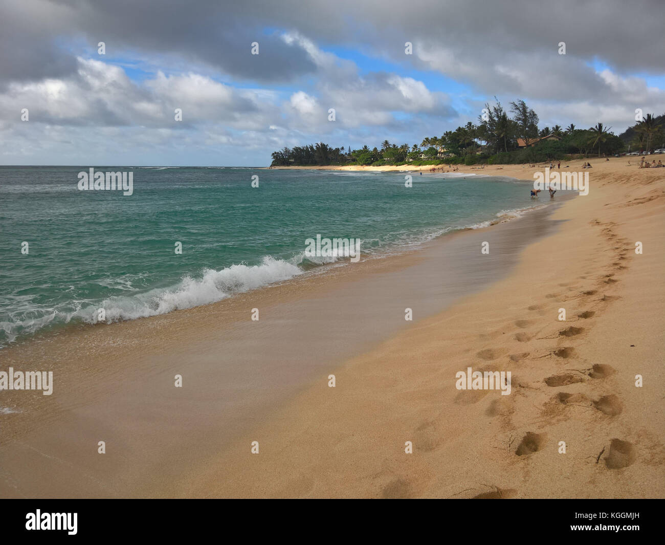 Sunset Beach on the North Shore of Oahu, Hawaii - Stock Image