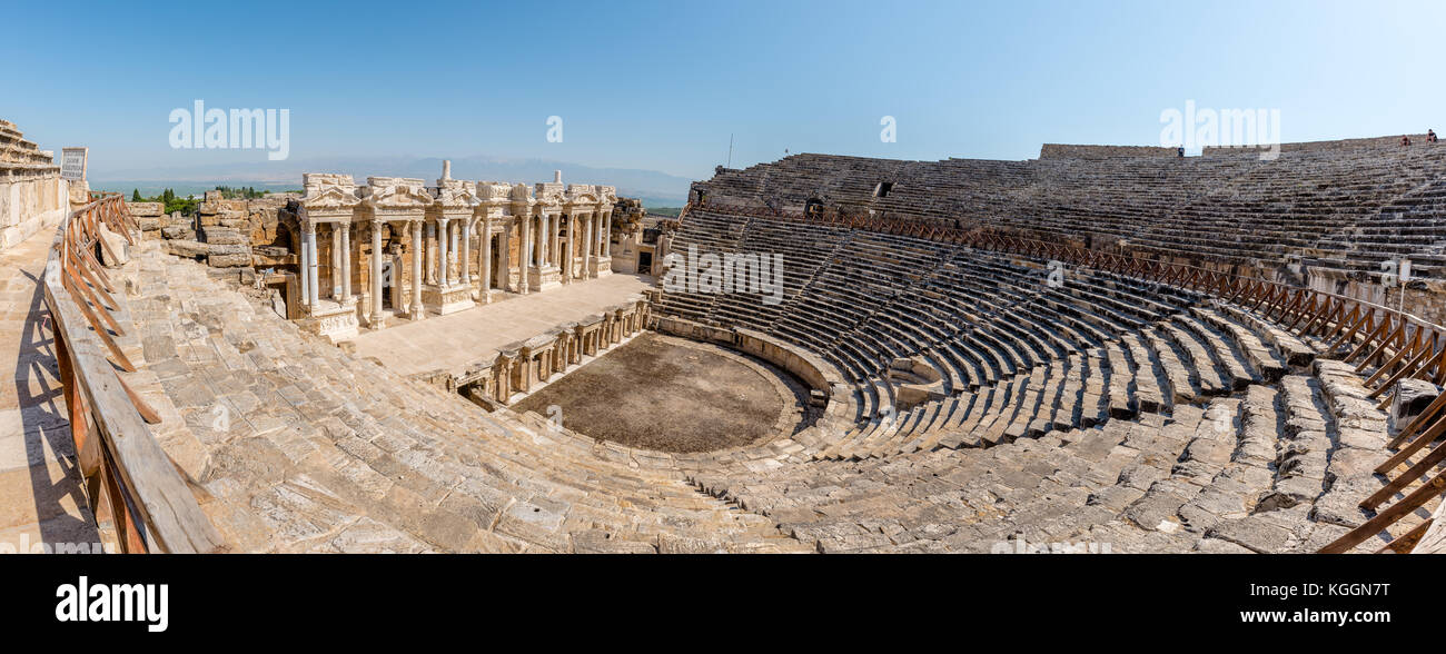 High Resolution panoramic view of Antique Theater in ancient Greek city Hierapolis, Pamukkale, Turkey - Stock Image